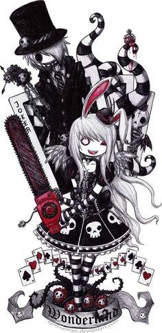 Alice in wonderland // Emo-Ghot Style ~ I'm totally in love with that ! Emo Kunst, Gothic Kunst, Emo Art, Goth Art, Arte Emo, Chibi, Arte Horror, Dark Disney, Creepy Cute