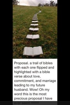 Wow! This is a dream proposal for a young christian woman! This is a dream. I would love for my future husband to incorporate the word somehow.