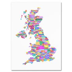 'UK Cities Text Map 3' by Michael Tompsett Textual Art on Canvas