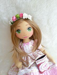 Pink Flowered Dress Handmade Doll Cloth Doll by LepiskaBebek