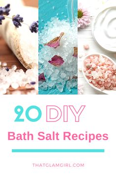 DIY Bath Salts Recipes - How to make homemade bath salts? Bath Bomb Recipes, No Salt Recipes, Diy Bath Salts Easy, Diy Herbal Bath Salts, Diy Bath Salts With Essential Oils, Bath Jellies, Bath Salts Recipe, Body Scrubs, Lip Scrubs