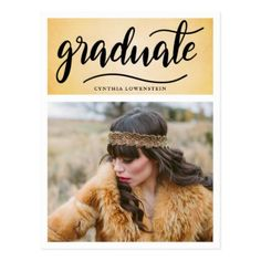 Vintage | Gatsby Graduate Typography Photo Postcard - graduation gifts giftideas idea party celebration