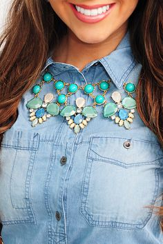Flowers In The Wind Necklace: Blue. USE THE CODE KKREP FOR 10% OFF OF YOUR PURCHASE AT SHOP HOPES!