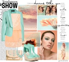 """""""PEACH AND TURQUOISE"""" by gustosamente ❤ liked on Polyvore"""