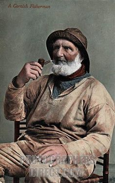 Cornish Fisherman , Edwardian hand tinted photographic postcard of an old salt stock photo