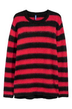 Kötött pulóver - Piros/fekete csíkos - FÉRFI | H&M HU
