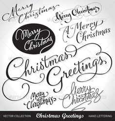 Christmas hand lettering set (vector) $4.00