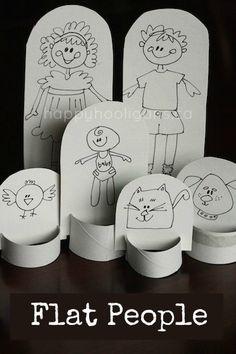 personas planas: hacen una familia de muñecos de papel con un pedazo de cartón y un tubo de toalla de papel
