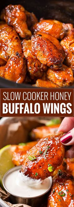 Slow Cooker Honey Buffalo Wings ~ wings are rubbed with spices, tossed in a sweet and spicy honey buffalo sauce, cooked in the slow cooker, then crisped up under the broiler.perfect for gameday! Crock Pot Slow Cooker, Crock Pot Cooking, Slow Cooker Chicken, Cooking Recipes, Crockpot Meals, Cooking Food, Pressure Cooker Chicken Wings, Slow Cooker Meat Recipes, Crockpot Recipes For Parties