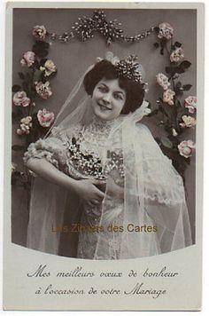 Carte-postale-ancienne-Femme-Mariee-Voile-Mariage-Meilleurs-voeux