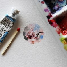 Tiny watercolor and colored pencil art