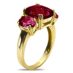 Created Ruby Fashion Ring in 10k Yellow Gold - Jewelry Deals 80% OFF + $25 OFF extra discount on purchases $500 & UP ! Enter PINPROMOT coupon at CHECKOUT to get $25 OFF when you place your order @ NissoniJwelry.com