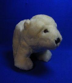 Original Modern Stuffed Animal Steiff Toy Teddy Polar Bear with Button #^D45