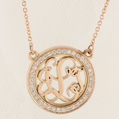Rose Gold, Diamond-Rimmed, Round Monogram Pendant with Chain