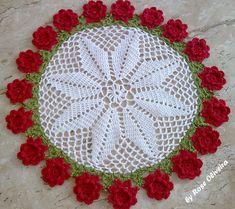 Tecendo Artes em Crochet: Toalhinha Rosas vermelhas. indicaciones