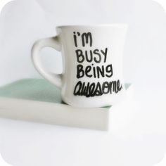 Awesome Funny Mug coffee tea cup diner mug black white hand painted