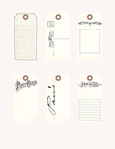 project life -printable vintage postcard tags -- free from simple brighton