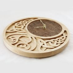 Carved wooden clock