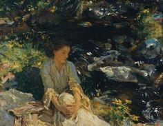 """geritsel: """"John Singer Sargent - Girl near a forest stream """""""