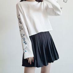japanese fashion Sweet Embroidery Short S - fashion Korean Fashion Trends, Korean Street Fashion, Asian Fashion, Korean Fashion School, Cute Korean Fashion, Kawaii Fashion, Cute Fashion, Fashion Outfits, Women's Fashion