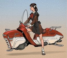 So by this point most of us are familiar with the steampunk aesthetic. But how many people out there know about dieselpunk? Dieselpunk style is similar to steampunk, but there. Arte Sci Fi, Sci Fi Art, Diesel Punk, Science Fiction Kunst, Hover Bike, Arte Steampunk, Gothic Steampunk, Illustration, Art Graphique