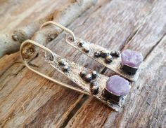 Rough Violet Sapphire Earrings. Sterling Silver Earrings. by Unics