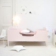 Pink kids bed. Girly, pastel room.