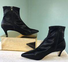 92a9d4bfa Top Shop Black BonBon Sock Satin Pointy Ankle Boots Halloween Witchy Size  8.5  Topshop