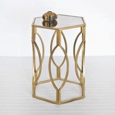 Morroco Hex Side Table - Gold Leafed - Clayton Gray Home