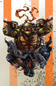 Teenage Mutant Ninja Turtles - Michelangelo by Harvey Tolibao * Ninja Turtles Art, Teenage Mutant Ninja Turtles, Anime Comics, Marvel Dc Comics, Tmnt, Comic Book Characters, Comic Character, Comic Books, Superman