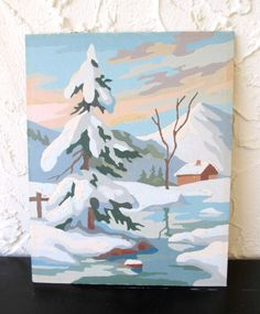 Winter Sunset Craft Master 8K3 Vintage 1960's Paint by Number PBN Unframed Painting AtomicPutz.com