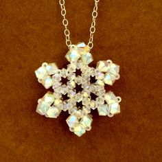 Beaded Snowflake Pendant With Swarovski by Ranitit on Etsy