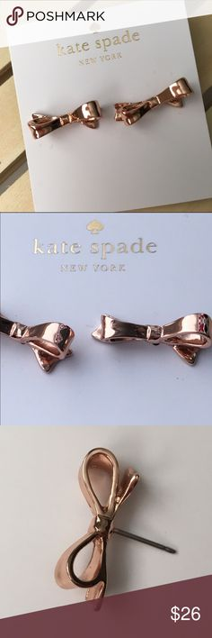 Kate Spade Love Notes Bow Stud Earrings Kate Spade Love Notes Rose Gold Overlay…