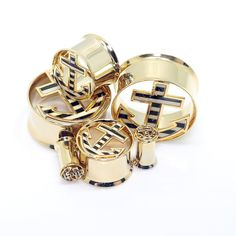 Gold Anchor Tunnels-ear gauges-plugs