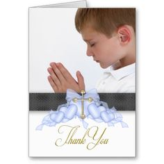 Blue Cross Photo First Communion Thank You Cards