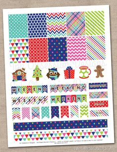 Winter Holiday Planner Stickers Set Instant Download DIY Printable PDF with Weekend Banners