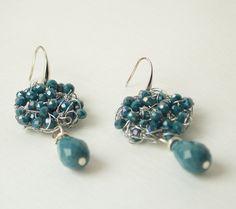 Spring Jewelry, Czech beads Earrings, Handmade Crochet Wire Earrings, Beaded Earrings, Wire Wrapped Silver Statement Earrings by UnikacreazioniShop on Etsy
