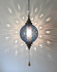 Hollywood Regency Italian Blue Glass Swag Lamp . by retrosymphony, $185.00
