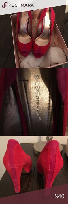 BCBGeneration red/raspberry 7.5 Worn once like new BCBGeneration Shoes Heels