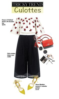 """""""Tricky Trend: Culottes"""" by dooda13 ❤ liked on Polyvore featuring Edit, House of Holland, Steve Madden, Borghese, TrickyTrend, culottes and summer2016"""