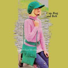 "WZ386 fun retro baker boy hat, bag belt set.Featured on Simply Crochet ""back to school"" issue."