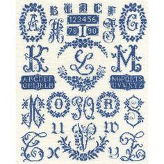 DMC Cross Stitch Kit - Blue Wreath Sampler