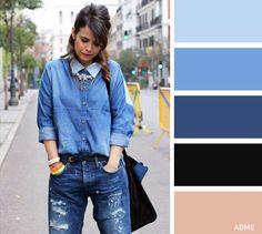 Долгое время сочетание денима разных цветов было под запретом, сейчас же оно регулярно встречается на уличных фотографиях со всех недель моды. Не бойтесь сочетать джинсовые вещи. Главное правило: оттенки не должны совпадать. Например, носите светлую рубашку и темно-синие джинсы.