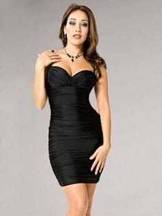 2011 Style Sheath / Column Sweetheart  Ruffles  Sleeveless Short / Mini  Elastic Woven Satin Black Cocktail Dress / Homecoming Dress