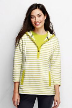 Women's 3/4-sleeve Starfish Midweight Jersey Hoodie - Stripe from Lands' End
