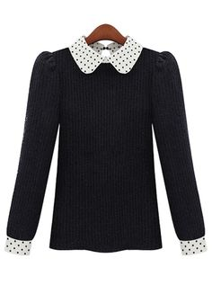 ++ black patchwork peter pan collar wrap knit sweater