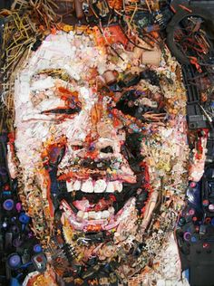 Artwork portraiture made entirely of trash... check out the other photos on the blog post!