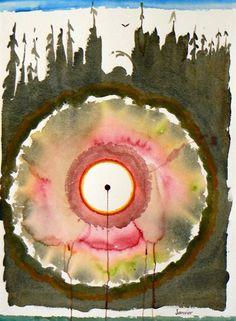 Sunshine Power - Contemporary Canadian Native, Inuit & Aboriginal Art by Janvier Woodlands School, Grade 1 Art, Native Canadian, Spirited Art, Shape Art, Table Designs, Space Gallery, Indigenous Art, Aboriginal Art
