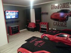 Race Car Bedroom, Car Themed Bedrooms, Bedroom Themes, Bedroom Decor, Big  Boy