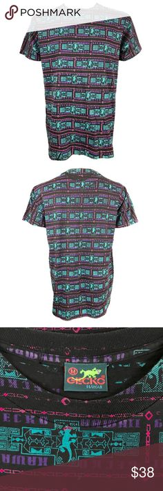 Vintage 90's Gecko Hawaii all over Print Shirt • Item: Vintage 90's Gecko Hawaii all over Print Shirt  • Size: men's medium; diagram in photos for detailed measurements  • Material: 100% cotton Gecko Shirts Tees - Short Sleeve